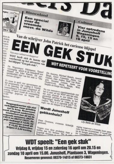 1994 Gek stuk (The curious Savage) Regie: Daan Overeem Auteur: John Patrick