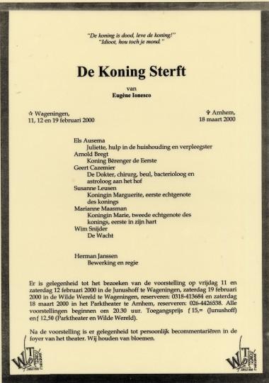 2000 Regie: Herman Jansen Auteur: Ionesco