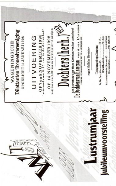 1998 Dochters (van Hasemann) Regie: Nelleke Koetsier Auteur: Adolf l'Aronge
