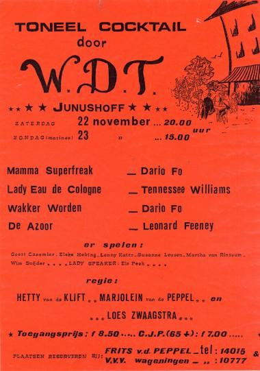 1986 Vier eenakters van Dario Fo, Tennessee Williams en Leonard Feeny Regie: Loes Zwaggstra, Hetty v.d. Klift en Marjolein v.d. Peppel